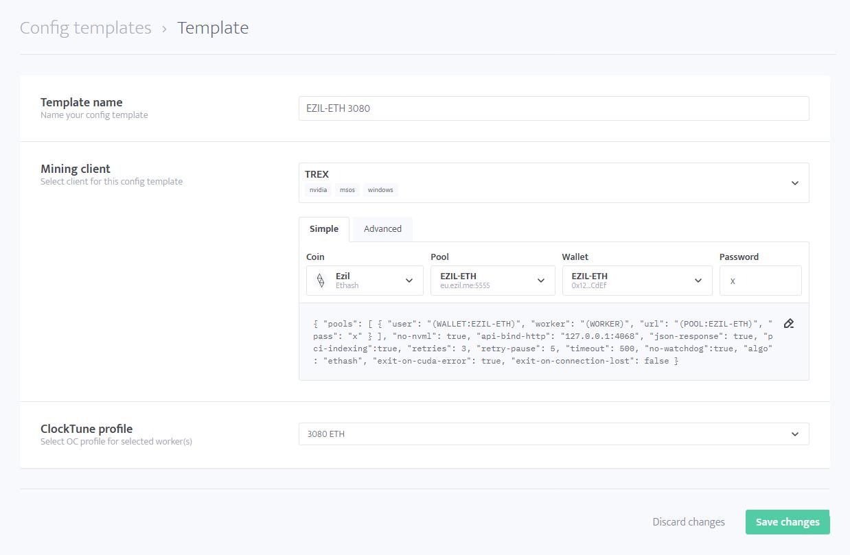 minerstat - Config templates - Edit template