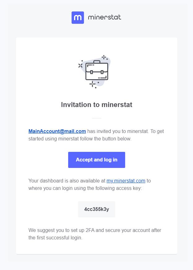 minerstat - Customer invitation