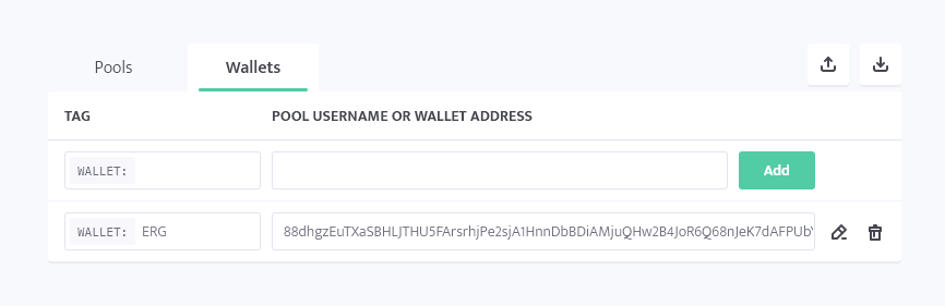 minerstat - ERG wallet