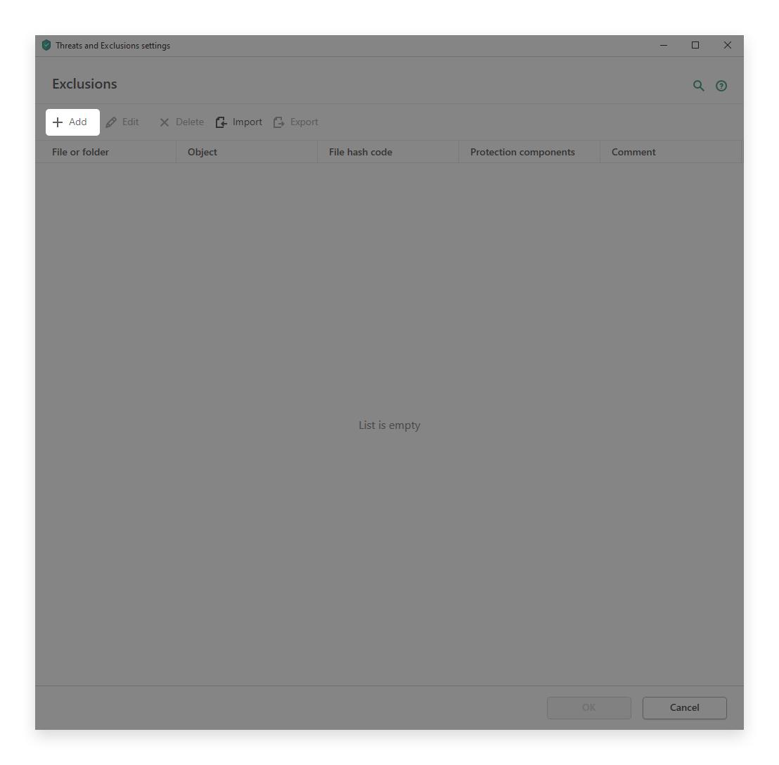 minerstat - Kaspersky - Exclusions - Add