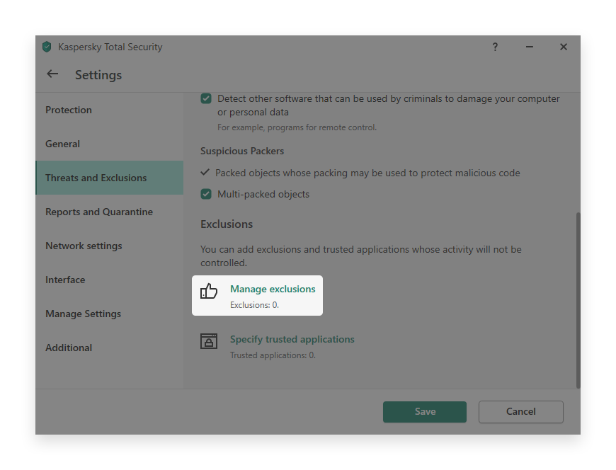 minerstat - Kaspersky - Manage Exclusions