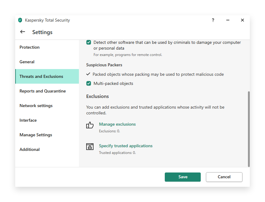minerstat - Kaspersky - Threats and Exclusions