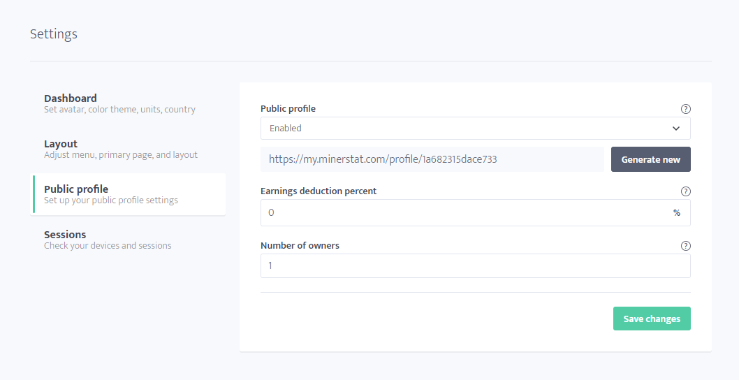 Public profile settings
