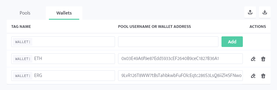 minerstat - T-Rex ETH and ERG dual mining - Wallets