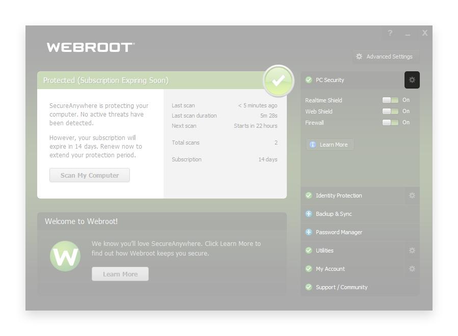 minerstat - Webroot - Open settings
