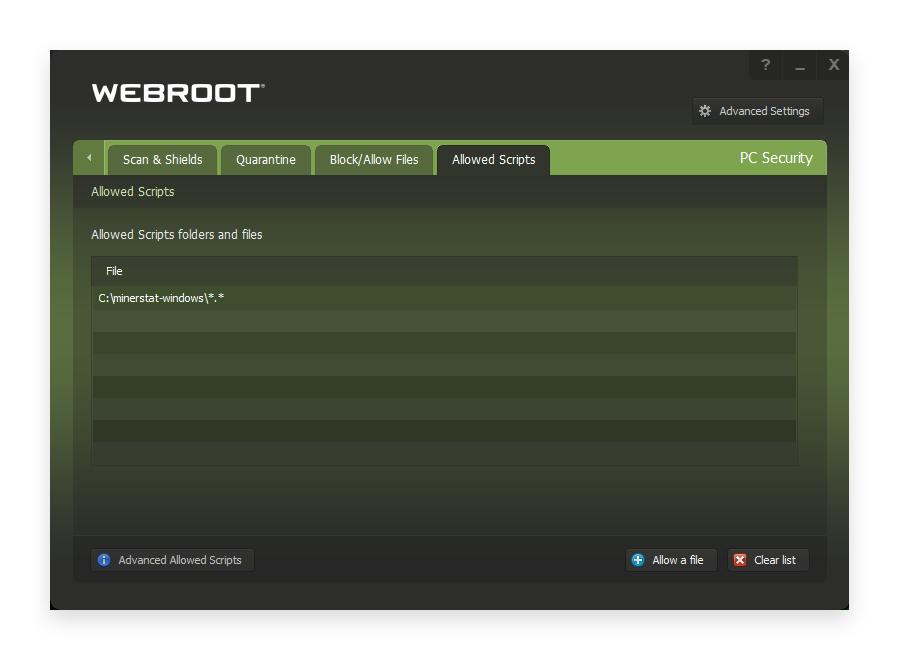 minerstat - Webroot - Settings